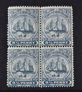 TURKS & CAICOS, KEVII, 1904, 2 & 1/2d. greyish blue value, SG 104a, BLOCK 4, LMM