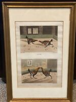 """Henry Thomas Alken COCK FIGHT Print """"Set Too Fight"""" Engraving by C.R. Stock 1828"""
