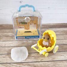 Sylvanian Families Baby Waddlington Duck Figure w/ Yellow Pram & Carry Case RARE