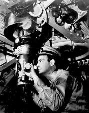 New 8x10 World War II Photo: Officer at Periscope on U.S. Navy Submarine, 1942