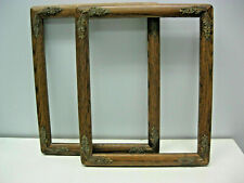 2- Brown Wooden Picture Frame 8x 10'' with flowers on the corners