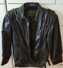 VINTAGE SIRROCO Black Leather Coat Motorcycle Jacket Size 14 Made in Australia