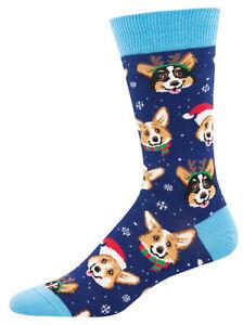 Corgi Xmas Dog Socks -Happy Pawlidays SockSmith Mens Navy