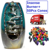 Ceramic Waterfall Backflow Incense Burner with 50 Cones For Home Decoration CA