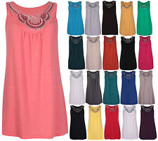 Womens New Sleeveless Ladies Stretch Beaded Stud Long Vest Tunic Top Plus Size