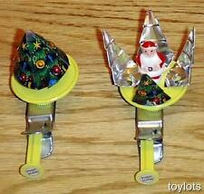 Vintage 1960's Christmas SANTA Tin SPINNER Toy JAPAN Old Store Stock MINT NOS !!