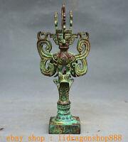 """8"""" Ancien Chine Bronze Ware Dynastie Mouche Oiseaux Personne Sanxingdui Statue"""