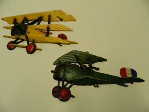 Lot of 2 Vintage Homco, USA WWI Airplane Wall Plaques - Cast Iron 1975