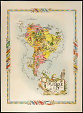 1951 - Carte Amérique du sud - Lithographie de Liozu - Map South America