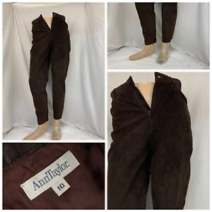 Ann Taylor Leather Pants 10 Brown Lined Flat Front Staight LNWOT YGI Q1-388
