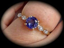 "TANZANITE RING 9K Y GOLD SIZE P 1/2 -""CERTIFIED AA, 1.02CT"" FAB COLOUR - BNWT"