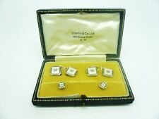 9ct Gold Mother of Pearl Cufflinks & Stud Set, ART DECO, Cased, c.1930, White