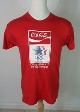 Vintage 1984 COCA-COLA LA California OLYMPICS T-shirt Coke Paper Thin XL 80s