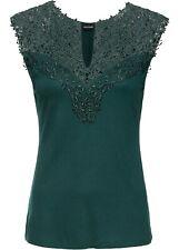 Damen Sommer Top grün Bluse Tank Top Shirt Tunika Spitzentop  48/50 XL neu 553