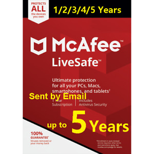 McAfee LiveSafe 2020 Unlimited Devices 5 Year Subscription PC/Mac