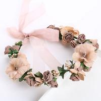 Coffee Rose Flower Faux Pearl Crown Hair Band Headpiece Wedding Bridal Headband
