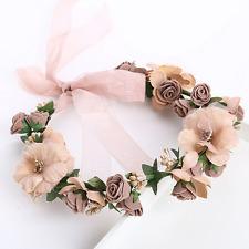 Princess Wedding Bridal Coffee Pearl Rose Flowers Silk Ribbon Hair Band Headband