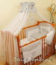 Luxury 7 pcs BABY BEDDING SET/BUMPER/DRAPE/HOLDER to fit Cot Bed or Cot
