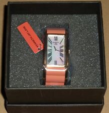 Kenneth Jay Lane Coral Rose Gold Mother of Pearl Breakers Bangle Wristwatch NEW