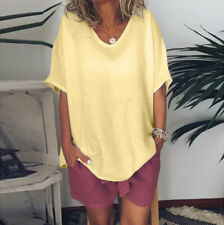 Women Loose Casual Summer Solid Short Sleeves Plus Size Tops T-Shirt Blouse