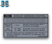 1970 Ford Mustang 428 Emission Control Decal Factory Exact Sticker