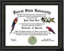 Parrot Lover's Doctorate Diploma / Degree Custom made & Designed for you UNIQUE