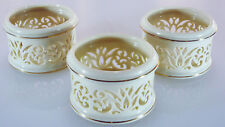 Set Of 3 Lenox Pierced Ivory Bone China Tealights 24K Gold Trim Preowned