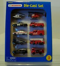 1998 Kid Connection Die-Cast EMERGENCY Vehicles Set of 10 NEW