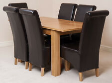 Hampton Oak 120cm Extending Dining Room Table & 6 Black Leather Montana Chairs Brown
