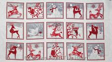 """Holiday Frost Winter Snowmen Deer Owls Racoon 23"""" Panel Flannel HG Cotton Fabric"""