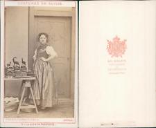 AD.Braun, canton de Thurgovie, costumes suisses Vintage CDV albumen carte de vis