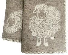 """Wende-Wolldecke Plaid Kuscheldecke Schaf """"Wolli"""" 100%Wolle 130x200cm weiß/natur"""