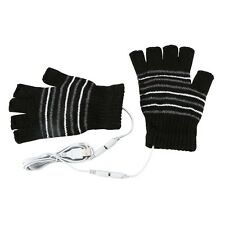 USB Heated Warm Gloves Half Finger Winter Heating Knitting Mittens Black  Tool