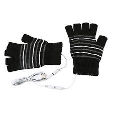 USB Heated Warm Gloves Half Finger Winter Heating Knitting Mittens Black  Tool