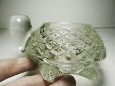 Sparkling Turtle Pressed Crystal Glass Votive Candle Holder 1970's Avon