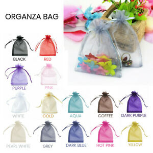 10-100 Pcs 5 Sizes Organza Bag Sheer Bags Jewellery Wedding Candy Packaging Gift