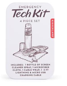 Kikkerland Emergency Tech Kit 4 pc Set Tin FREE US Shipping 3 FT Charging Cable
