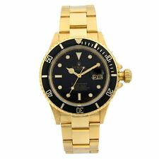 Rolex Submariner 18k Yellow Gold Black Dial Automatic Mens Watch 16618