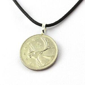 Collier pièce de monnaie Canada 25 cents Elizabeth II