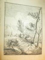 Ecole FRANCAISE XVIII DESSIN PIERRE NOIRE PAYSAGE ANIME ART POPULAIRE 1780 c