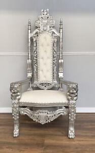 Throne Chair -  Silver Frame - Lion Chair   Carving Throne Chair