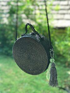 Handmade Round Rattan Basket-Black
