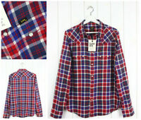 """NEW LEE 101 SAW RIDER SHIRT CHECKED RED/BLUE """"HAUTE RED"""" REGULAR __ S/M/L/XL/XXL"""