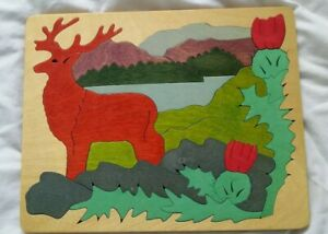 Vintage Rare George Luck Wooden Jigsaw Puzzle Scotland Red Deer Stag Thistles