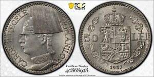 "PCGS MS-62 ROMANIA 50 LEI 1937 (UNDERGRADED BEAUTY!) DOUBLE ""0"" IN DENOMINATION"