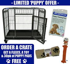 Small Premium Heavy Duty Dog Crate Cage with Nylon Wheels - Size Small