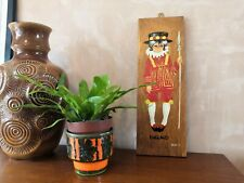 1970s Retro Mid Century Hand Painting on Teak England Beefeater Boy Traditional