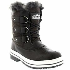 Polar Womens Snow Boot Quilted Short Winter Snow Fur Warm Boots - Grey, Size 4
