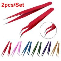 Curved Straight Tweezers For Eyelashes Extension Nail Art Nipper Applicator Clip