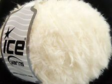Lot of 8 Skeins Ice Yarns Wool SALE EYELASH (40% Wool 15% Viscose) Yarn Cream